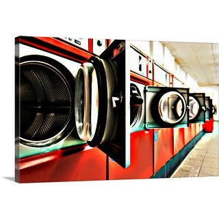 """Dryers in laundromat"" Canvas Wall Art"