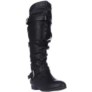 Rampage Basking Flat Mid-Calf Boots, Black - 6 us
