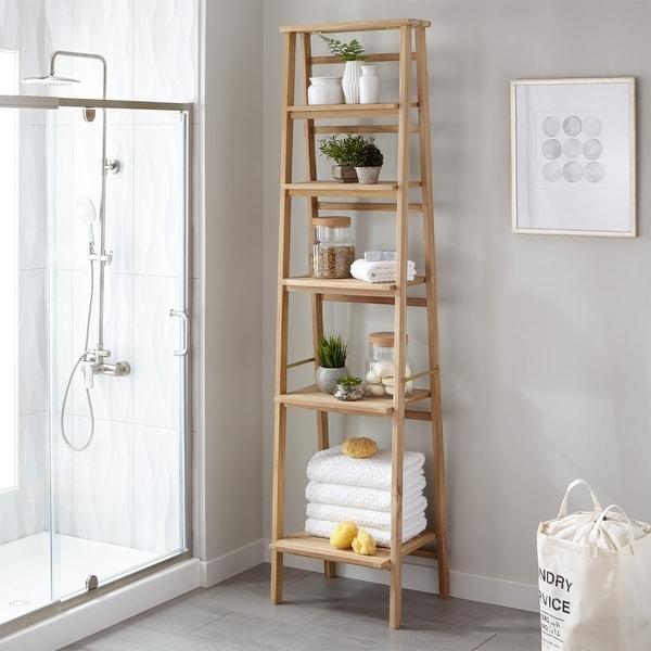 shop signature hardware 304992 oversized ladder style teak bathroom rh overstock com teak bathroom shelf teak bathroom shelf