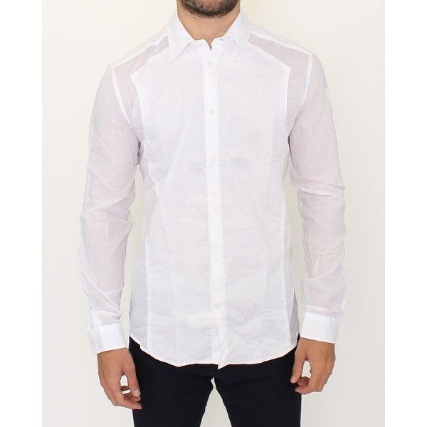 Ermanno Scervino Ermanno Scervino White Striped Cotton Slim Fit Casual Shirt - it50-l