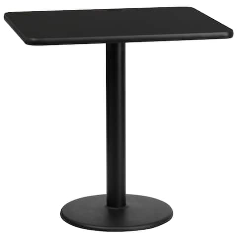 """24'' x 30'' Rectangular Laminate Table Top with 18'' Round Table Height Base - 24""""W x 30""""D x 31.125""""H"""