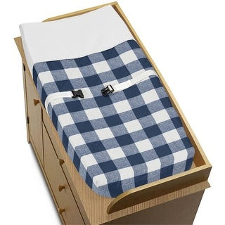 Navy Buffalo Plaid Check Collection Boy Changing Pad Cover - Blue and White Woodland Rustic Country Farmhouse Lumberjack
