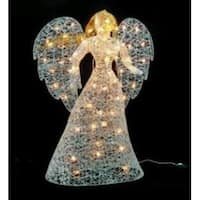 "48"" Lighted Elegant Glittered Angel Outdoor Christmas Yard Art Decoration - WHITE"