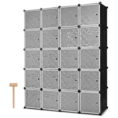 Costway DIY 20 Cube Portable Closet Storage Organizer Clothes Wardrobe Cabinet W/Doors - Black, white