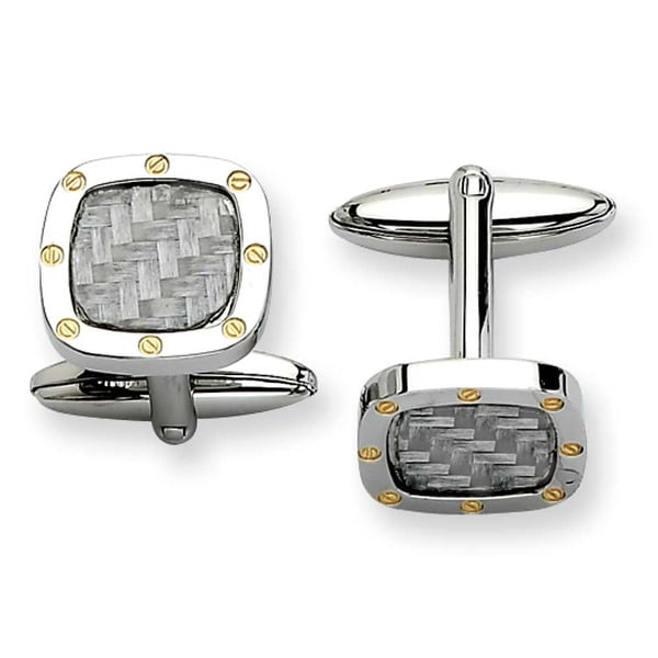 Chisel Stainless Steel Polished and Carbon Fiber with IPG Cuff Links