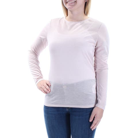 GUESS Womens Pink Long Sleeve Jewel Neck Top Size XL