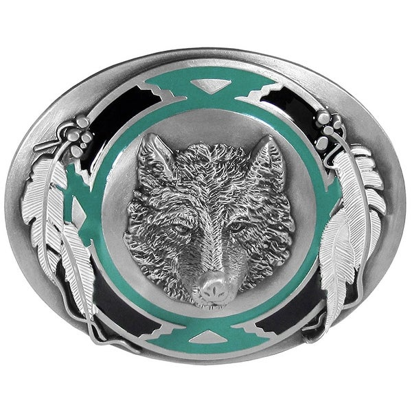 Wolf & Feather Enameled Belt Buckle