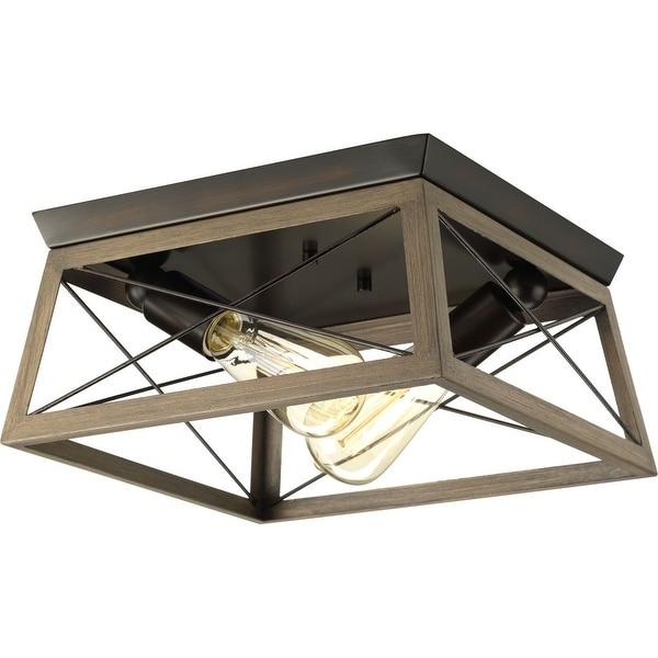 "Briarwood Collection Rich Oak Flush Mount Ceiling Light - 9.120"" x 15.000"" x 15.000"" - 9.120"" x 15.000"" x 15.000"". Opens flyout."