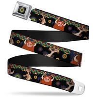 Lion King Aboriginal Full Color Black Navy Burgundy Green Timon & Pumba Seatbelt Belt