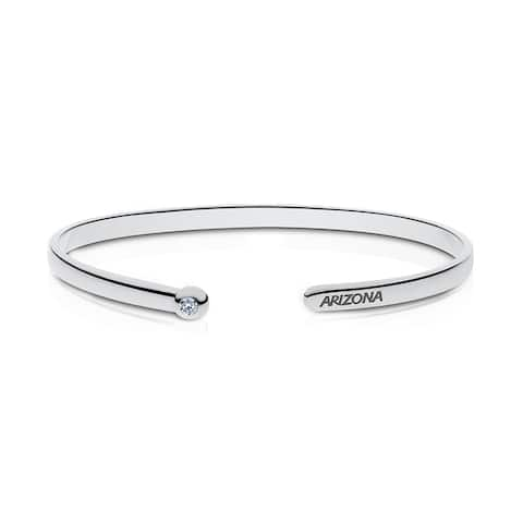 University Of Arizona Engraved Sterling Silver Diamond Cuff Bracelet