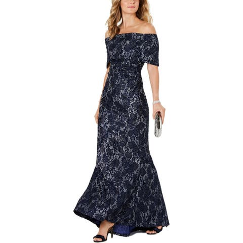 Vince Camuto Womens Formal Dress Lace Off-The-Shoulder - Navy