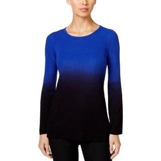 NY Collection Womens Petites Pullover Sweater Dip Dye Boatneck