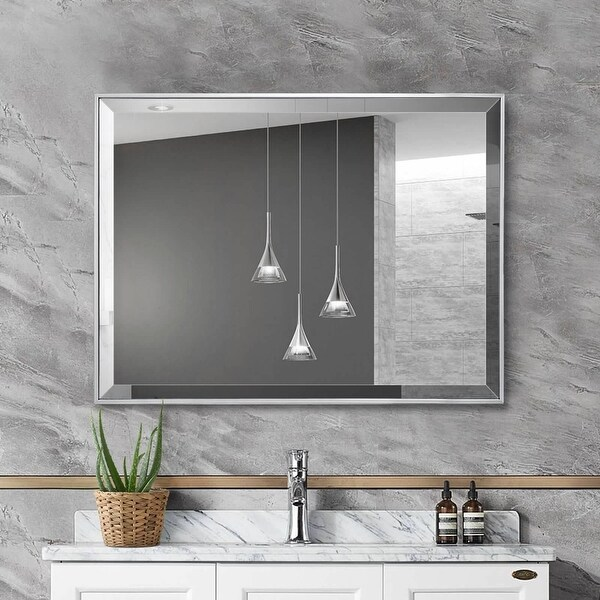 Silver Beveled Framed Wall Mirror. Opens flyout.