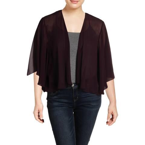 SLNY Womens Plus Cardigan Top Chiffon Sheer - Aubergine