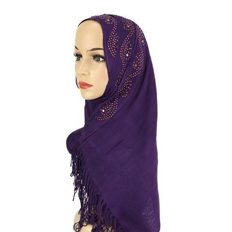 Rhinestone Hijab Shawls and Wraps for Women's Headscar Shiny Scarf