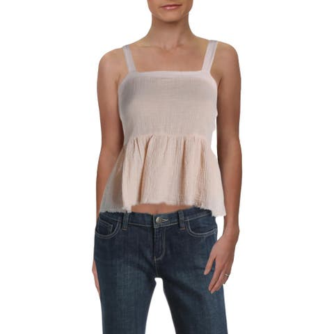 Nation LTD Womens Giovana Tank Top Cotton Cropped - Alabaster