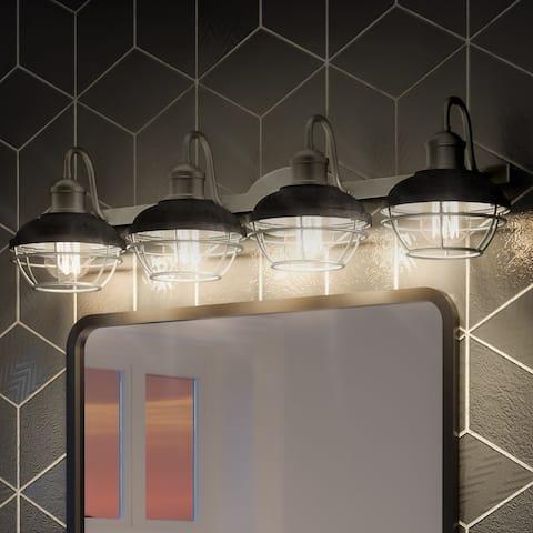 "Luxury Utilitarian Bath Vanity Light, 8.75""H x 34""W, with Coastal Style, Rustic Polished Nickel, UQL3460 by Urban Ambiance"