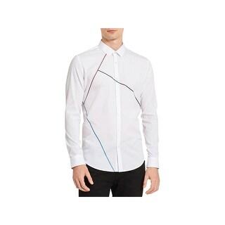 Calvin Klein Mens Button-Down Shirt Printed Long Sleeves