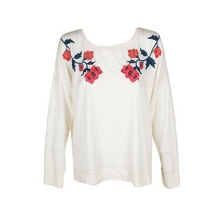 Lucky Brand Ivory Floral Embroidered Crew-Neck Sweatshirt L