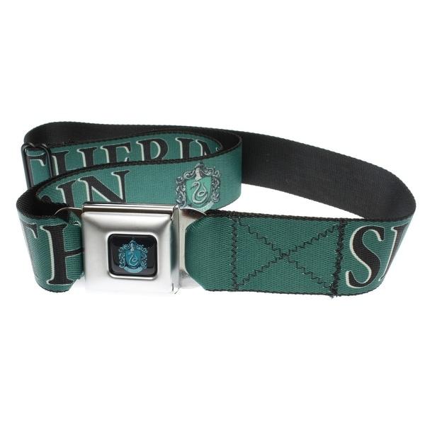 Harry Potter Seatbelt Belt Full Slytherin Crest Green-Holds Pants Up - XL