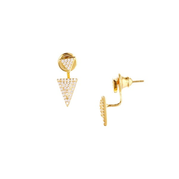 925 Sterling Silver Gold Plated Double Triangle Ear Jacket