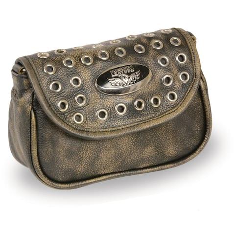 Ladies Chain Strap Leather Shoulder Bag w/ Eyelets