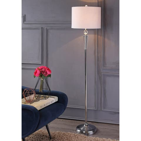 """Reese 59.5"""" Crystal LED Floor Lamp, Clear/Chrome by JONATHAN Y - 59.5"""" H x 14"""" W x 14"""" D"""