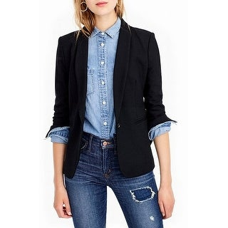 J.Crew NEW Black Deep Women's Size 10 One-Button Seam Blazer Wool