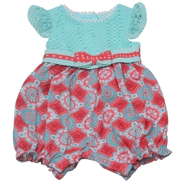 Counting Daisies Baby Girls Mint Kaleidoscope Print Romper Jumpsuit 3M