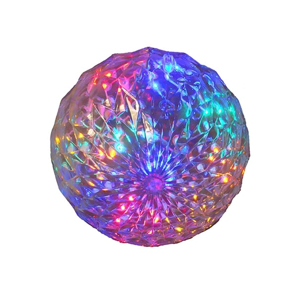 "6"" Multi-Color LED Lighted Hanging Christmas Crystal Faceted Ball Outdoor Decoration"