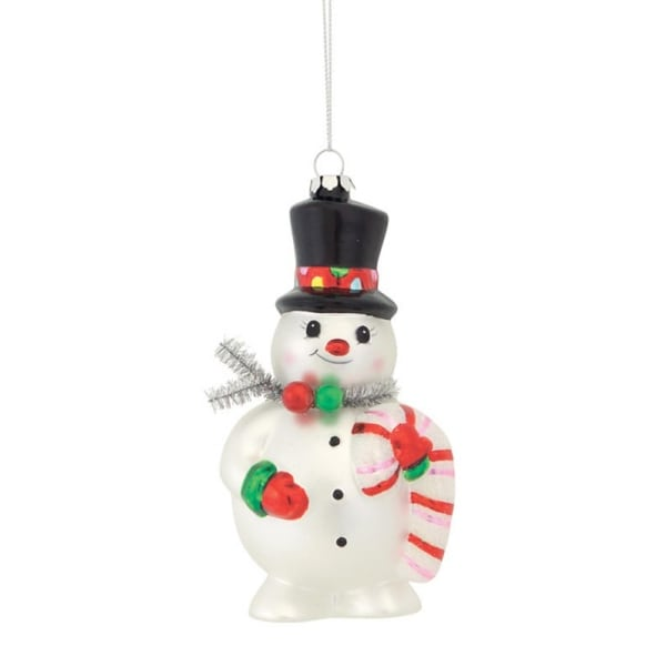 """Club Pack of 12 Jolly Snowman With Top Hat and Candy Cane Glass Christmas Ornament 6"""""""
