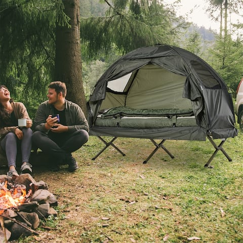 """Portable Camping Cot Tent with Air Mattress, Sleeping Bag, and Pillow - 76.5"""" L x 34"""" W x 64"""" H"""