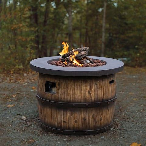 Adair Outdoor 50,000 BTU Wood Whiskey Barrel Finish Propane Fire Pit with Lava Rocks.