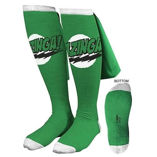 Big Bang Theory Green Bazinga Caped Socks
