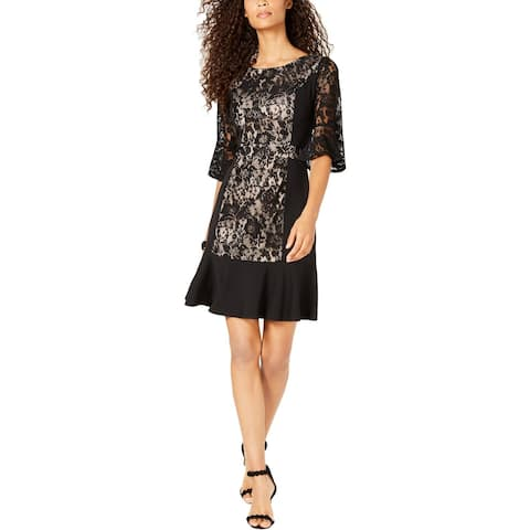 NY Collection Womens Petites Cocktail Dress Lace Bell Sleeve
