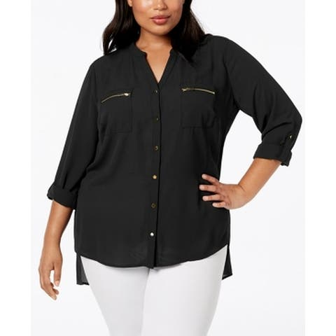 NY Collection Womens Blouse Jet Black Size 3X Plus Hi-Lo Zip Pockets