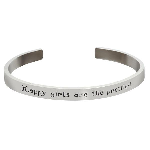 Women's Famous Women's Quotes Cuff Bracelet - Happy Girls - Audrey Hepburn