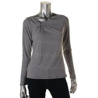 MICHAEL Michael Kors Womens Petites Long Sleeves Pattern Pullover Top - pm