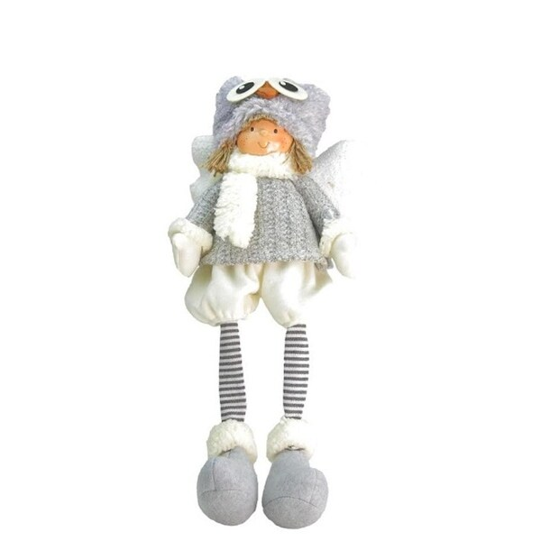 """21"""" Sitting Boy Angel with Dangling Legs and Owl Hat Tabletop Decoration"""