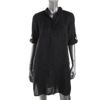 Eileen Fisher Womens Petites Linen Shift Shirtdress - pp
