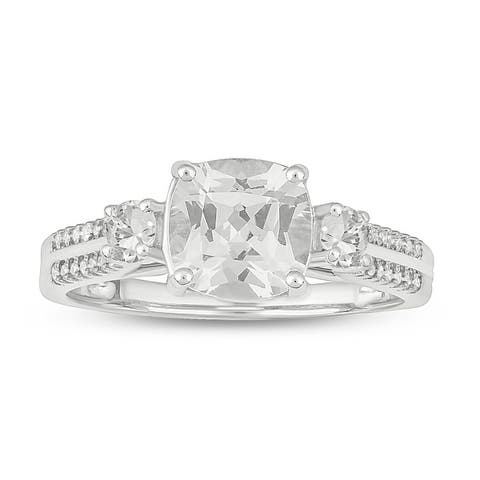 Cali Trove sterling silver 1/10ct TDW Round Shape Natural Diamond with cushion shape synthetic white sapphire fashion Ring