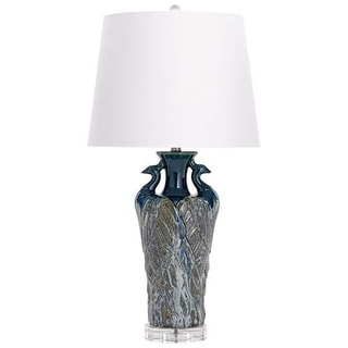 Cyan Design Two Birds Table Lamp Two Birds 1 Light Accent Table Lamp with White Shade - Blue