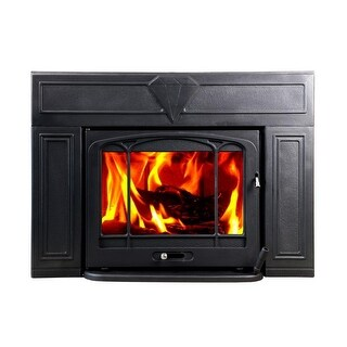 HiFlame Thoroughbred Extra Large Wood Burning Fireplace Insert HF577IU3 Black