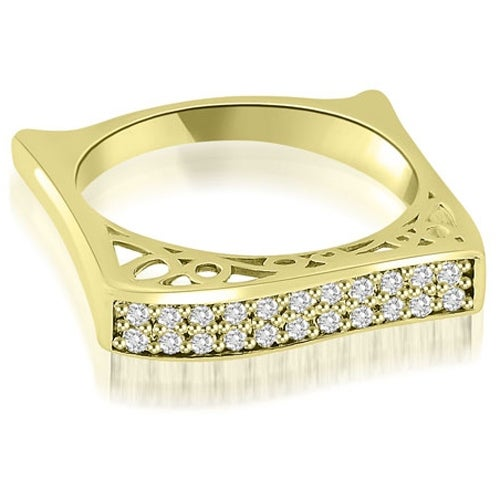 0.22 cttw. 14K Yellow Gold Antique Style Square Diamond Wedding Ring