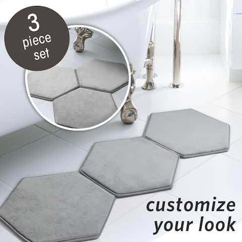 MICRODRY® Memory Foam HD Modular Bath Mats 3-Piece Set with GripTex Skid-Resistant Base, 19x17