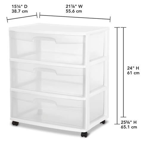 "Sterilite Wide 3 Drawer Cart - 21.88"" wide"