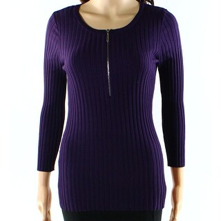INC NEW Purple Women's Size XL 1/2 Zip Ribbed Solid Pullover Sweater