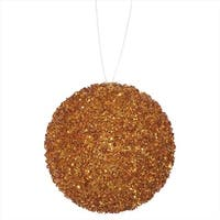 4.75 in. Orange Sequin And Glitter Drenched Christmas Ball Ornament