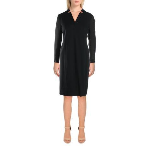 Donna Karan Womens Wear to Work Dress Pintuck Midi - Black