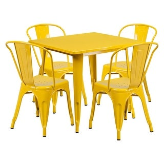 """Offex 31.5"""" Square Yellow Metal Indoor Table Set with 4 Stack Chairs"""